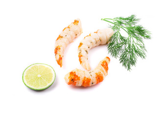 Cooked unshelled shrimps with dill.