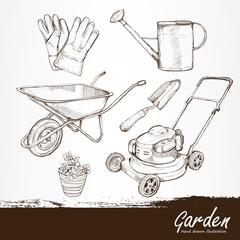 illustration of gardening tools. Hand drawn design