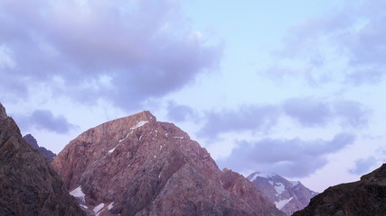Clouds in the sunset light. Time Lapse. Pamir, Tajikistan