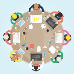 Business round table. Flat design vector illustration.