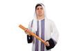 Arab man hitting with baseball bat isolated on white