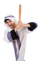 Arab man hitting with baseball bat isolated on white
