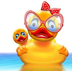 Duck die Ente mit Brille und Babyente