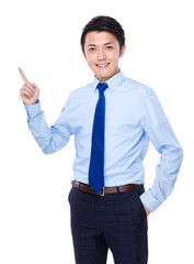 Businessman with finger point up