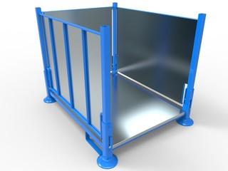 Stapelgestell mit Blechboden und Wänden