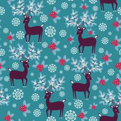 Christmas deers - vector seamless pattern