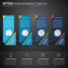 One,two,three,four - option business infographic,dark