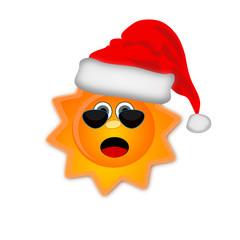 Sole con cappello natalizio