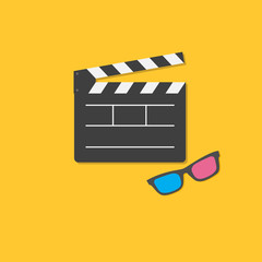 Open movie clapper board and 3D glasses template icon. Flat