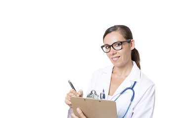 doctor with clipboard and pen