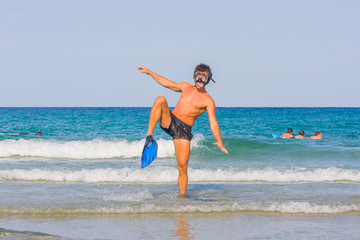Snorkeling in the Caribbean Ocean
