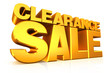 3D gold text clearance sale.