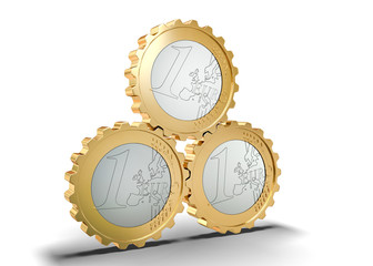 mechanism of gears with euro coins - financial system concept
