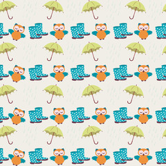 Owls and rain boots - vector seamless pattern