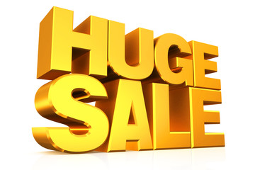 3D gold text huge sale.