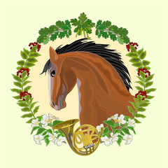 ark Horse head  and french horn hunting theme vector