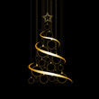 Obrazy na płótnie, fototapety, zdjęcia, fotoobrazy drukowane : Vector Abstract Golden Christmas Tree on black background
