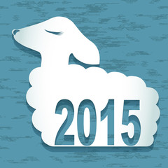 2015 new year card with  sheep. vector illustration