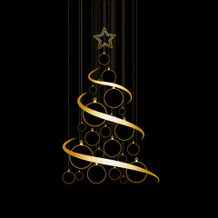 Vector Abstract Golden Christmas Tree on black background