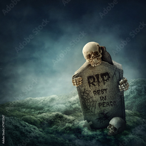 In de dag Begraafplaats Crow sitting on a gravestone