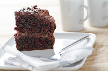 A slice of delicious home made chocolate cake
