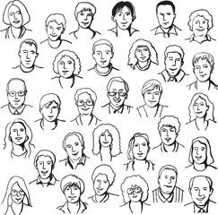 Set portrait business people draw line black white