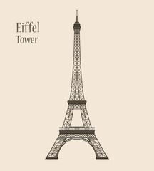 Eiffel Tower in Paris - Silhouette Vector Illustration