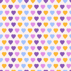 Geometric seamless pattern with hearts