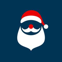 Abstract Christmas Card Santa Dark Blue