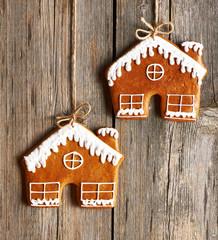 Christmas homemade gingerbread house cookies