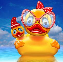 Duck die Ente mit Brille, Schleife und Babyente