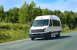 minibus goes on the country highway