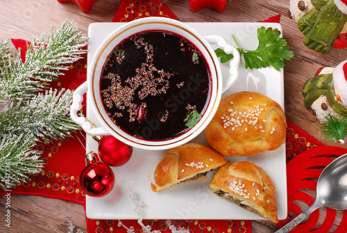 red borscht and pastries for christmas eve - 71473363