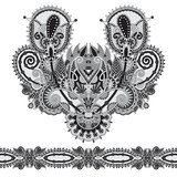 Neckline grey embroidery fashion, black and white collection poster