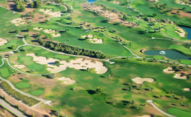 Golf course. View from the plane.