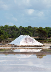 Sea salt production. Heap of sea salt.