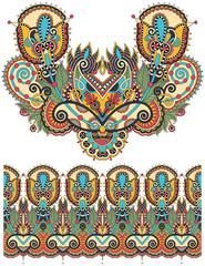 Neckline ornate floral paisley embroidery fashion design, ukrain
