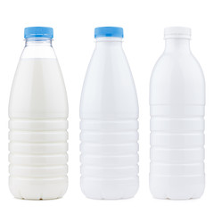 Different plastic dairy products bottle set, isolated