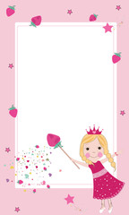 Cute strawberry fairy frame vector
