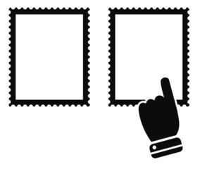 post stamp mark with hand cursor black icon