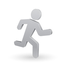running man 3d icon of person