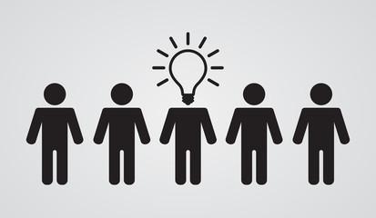 lightbulb head of leader of teamwork group