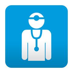 Etiqueta tipo app azul medico