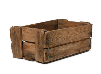 Vintage empty wooden crate isolated on white