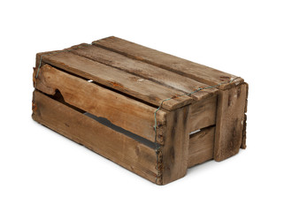 Vintage wooden box turned upside down, isolated