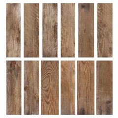 Set of vintage weathered wooden planks isolated