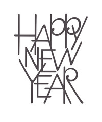 Happy new year black lettering