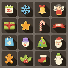 Flat Christmas icons set for Web and Mobile Applications