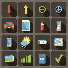 Flat icons set for Web and Mobile Applications.