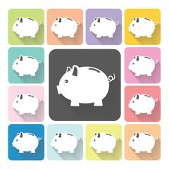 Piggy bank Icon color set vector illustration